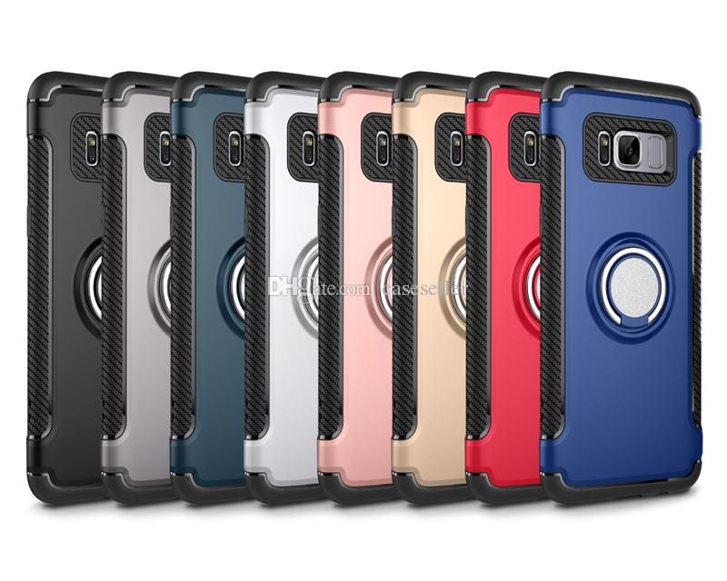 new concept e4c1d c42c7 Ring Car Holder Phone Case Magnetic Hybrid 2in1 Cellphone Cover For iPhone  7 Plus 6 6S Samsung S8 PLUS S7 Edge J3 J7