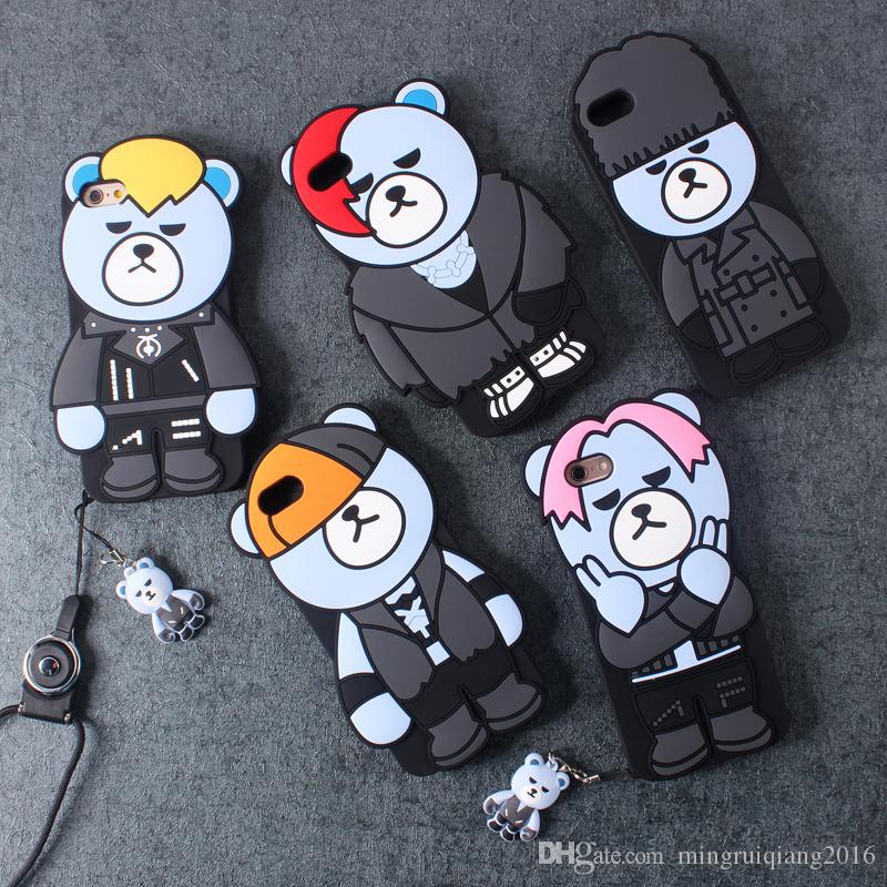 Korea Funny 3D GD Krunk Bear Soft Silicone Case Cover For