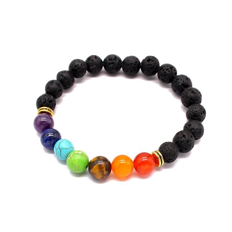 Bracelets de lave noire de pierre naturelle pour femmes 7 chakra bracelet de guérison Balance de prière Berce Bracelet Stretch Yoga Reiki Bijoux