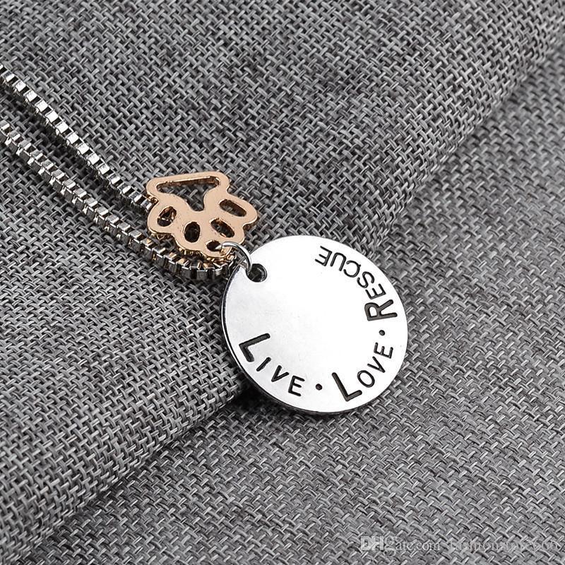 Солнечный свет Живая Любовь Спасательные письмо Любовь Слово собачник ожерелье Cat собак Paw Print день новые моды новые ювелирные изделия ожерелье матери