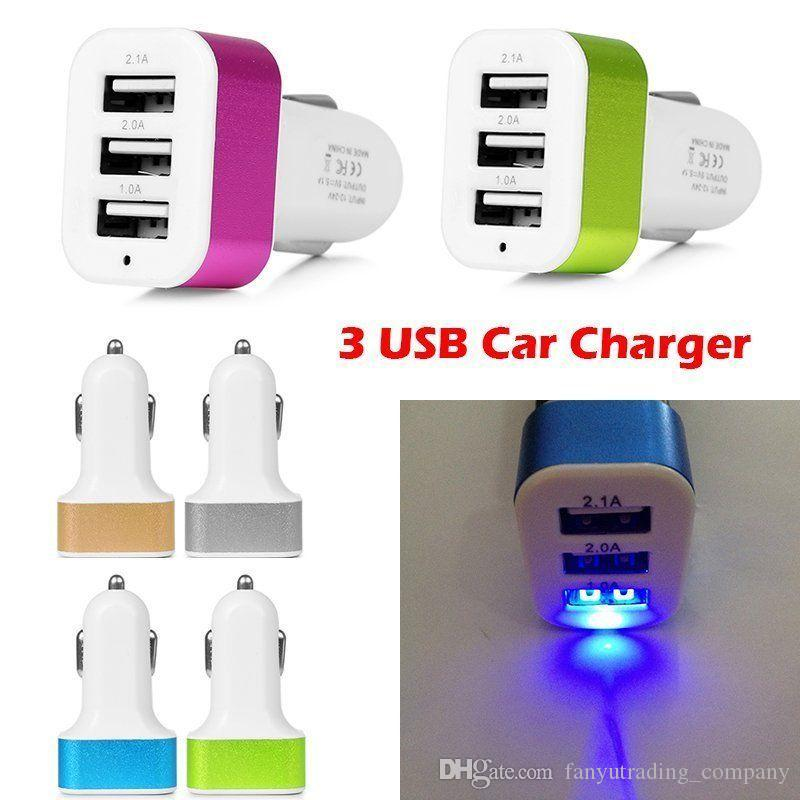 2017 Universal Triple USB Car Charger Adapter USB Socket 3 Port Car-charger For iPhone Samsung Ipad Free DHL If more than