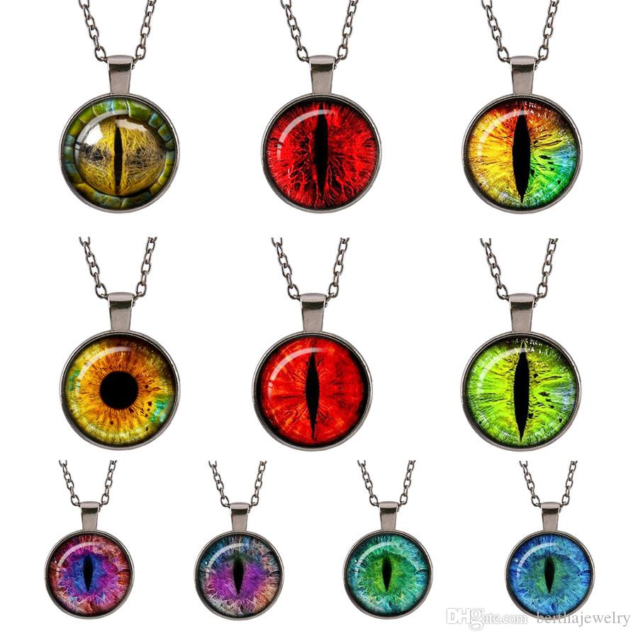 efeef17146472a Wholesale Purple Loong Cat Eye Evil Eye Jewelry Glass Cabochon Round Retro  Fashion Gun Black Pendant Gifts For Women Men Girls Chain Sweater Necklace  Rose ...
