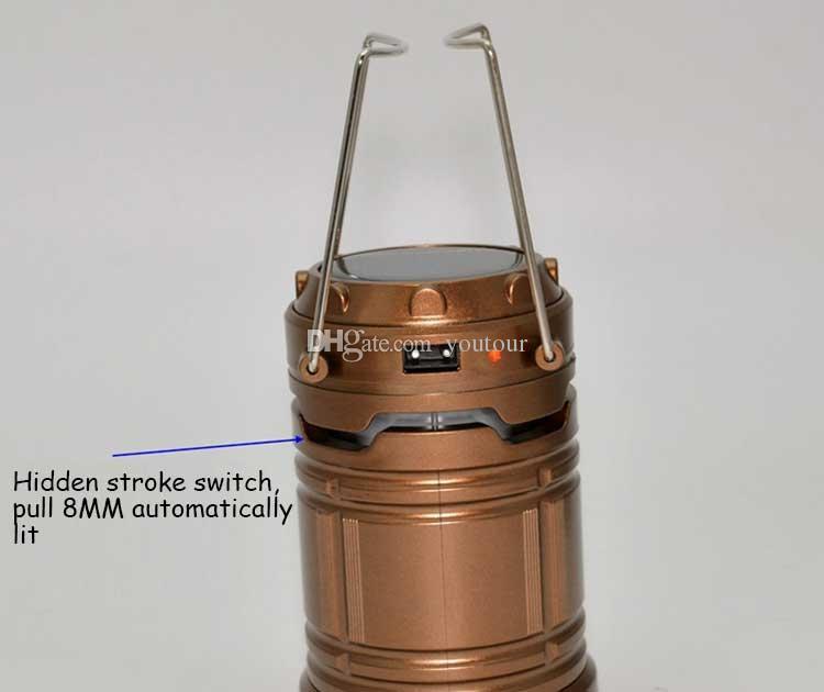 Portable Lanter Chargeur solaire Lanterne de camping Lampe LED Luminaires d'extérieur pliante Camp lampe Tente USB lanterne rechargeable