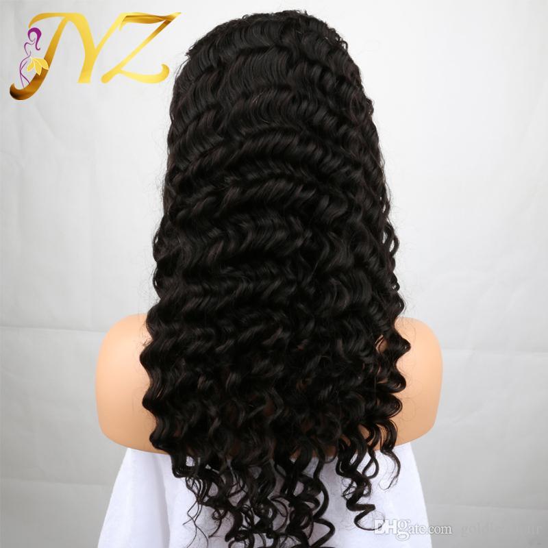 İnsan Saç Peruk Dantel Ön Brezilyalı Malezya Hint Kıvırcık Saç Tam dantel Peruk Remy Bakire Saç Siyah Kadınlar Için Dantel Ön Peruk