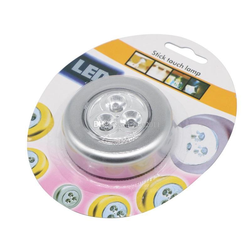 Alimentado Por bateria LEVOU Toque Luz Noturna 3 leds Sem Fio Vara Tap Roupeiro Toque Lâmpada Mini Lâmpada de Parede Gabinete Luz