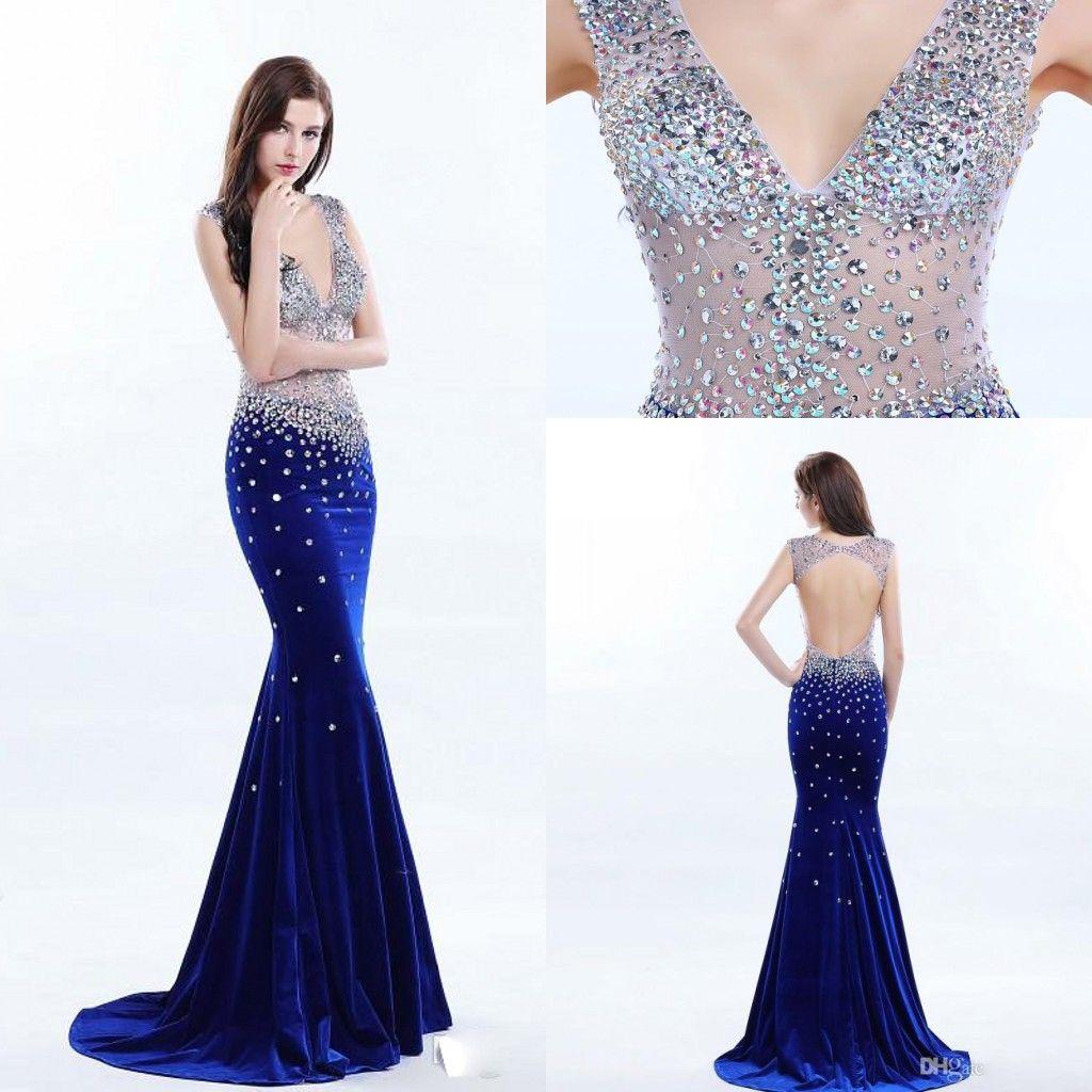 Famous Designer Mermaid Prom Dresses 2017 Deep V Neck Beaded See ...
