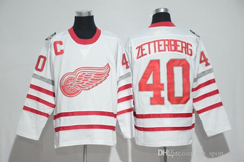 Chandails des chandails Red Wings du 100e anniversaire de la Classique du centenaire 2017 19 Steve Yzerman 13 Pavel Datsyuk 40 Zetterberg 71 Larkin Nyquisi