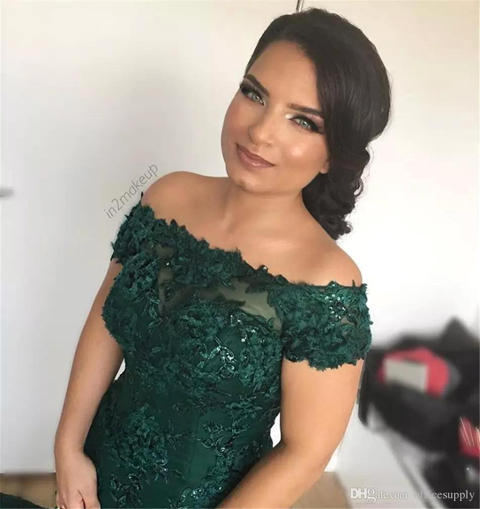Sparkly African Dark Green Mermaid Prom Party Dresses 2018 Off the Shoulder Lace Sequins Corset Back Long Evening Celebrity Gowns Vintage