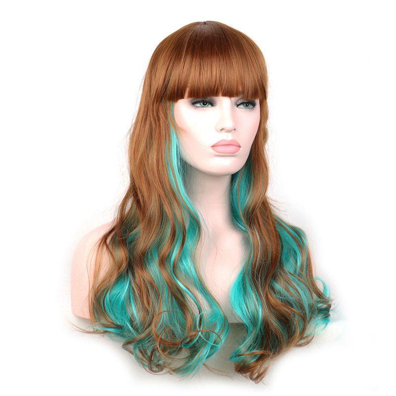 WoodFestival Green Brown Ombre Wig Women Harajuku Wig Lolita Long Wavy Synthetic  Hair Wigs Heat Resistant Synthetic Fiber Wigs Curly Synthetic Wig Dye Blue  ... 77d70d2e1