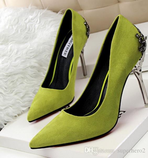Womens high-heeled Suede Shoes pumps carved metal heel pointed Wedding Shoes drop lady christmas gift shipping