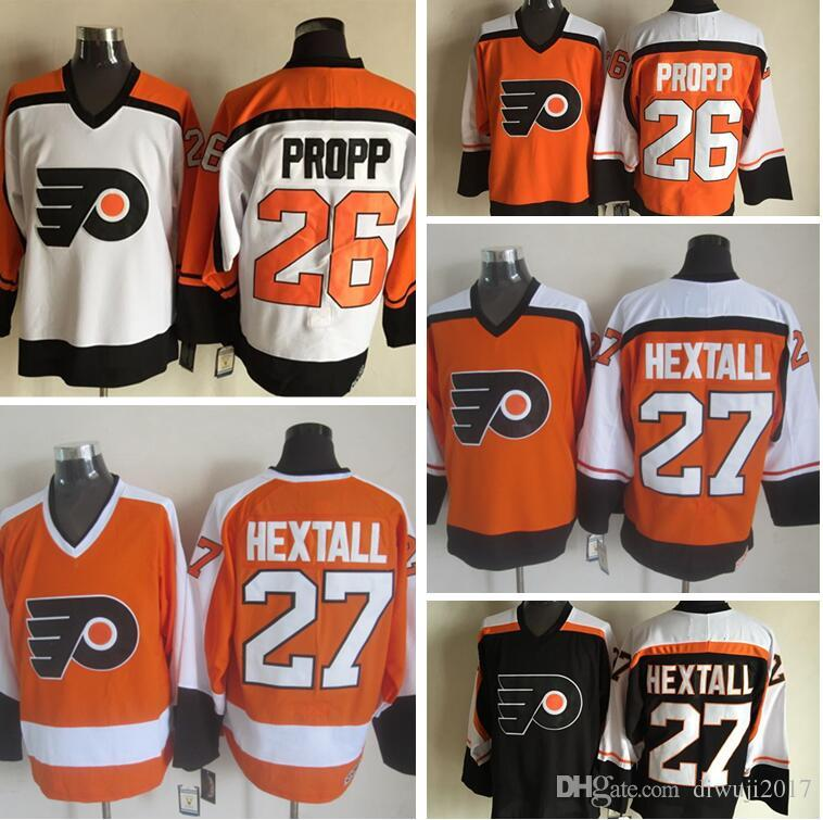 2019 Throwback Philadelphia Flyers 26 Brian Propp 27 Ron Hextall 88 Eric  Lindros Black White Orange CCM NHL Ice Hockey Jerseys From Diwuji2017 d1f4888ce
