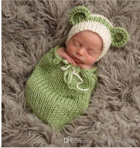 05c8ed37e 2019 Newborn Baby Photography Props Hat Clothing Set Infant Knit Crochet  Costume Soft Outfits Baby Photo Wear Babies Sleeping Bags From  Good_babyclothes, ...