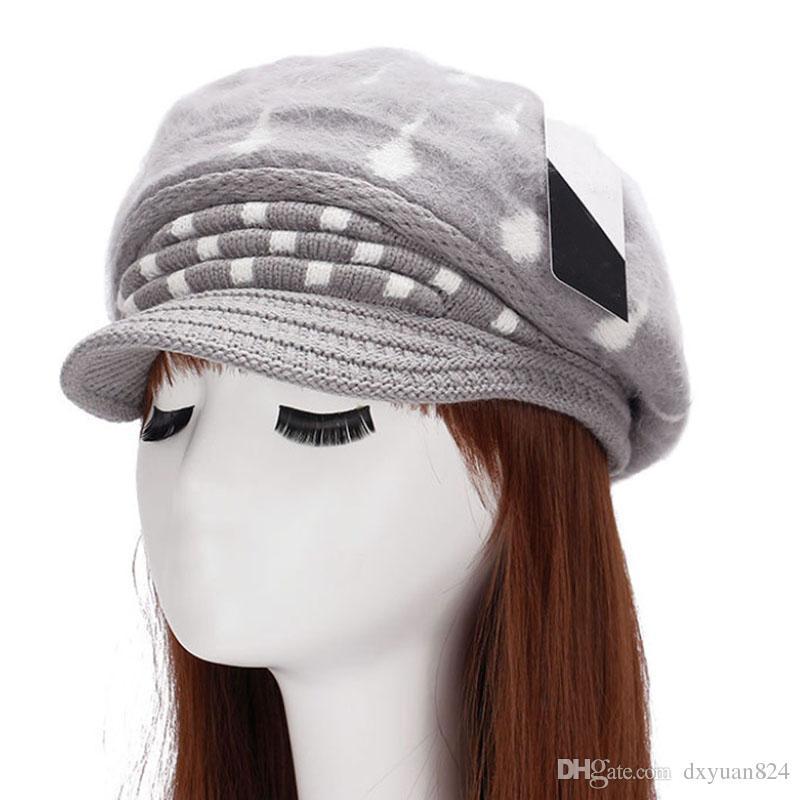 New Autumn Winter Women Rabbit Fur Caps Hats Fashion Lady Pure Color Knitted Berets Hat Korean Style Ladies Keep Warm Ear Cap