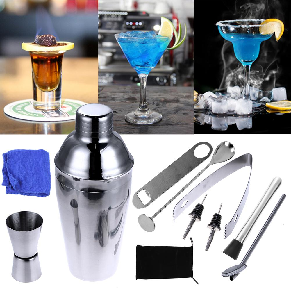 Premium Shaker Barware Set - 11 Pieces Bartender Kit Includes Shaker , Rack, Spoon, Pourer, Straw & Ice tong Cocktail Shaker