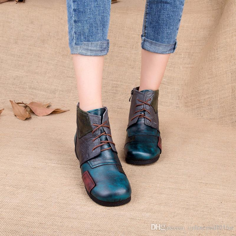 e07976ee2100 2017 Fashion Handmade Boots For Women Genuine Leather Ankle Shoes Vintage Mom  Shoes Retro Folk Style Sapphire Boots Designer Shoes Rain Boots For Women  From ...