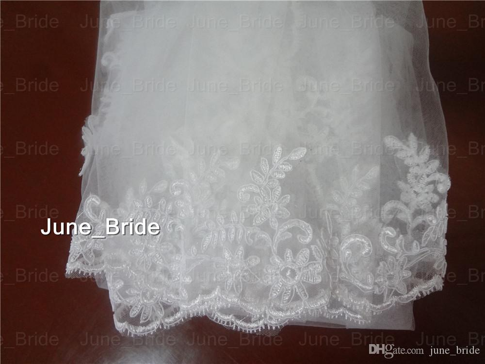 Factory Real Photo Elegant Bridal Veil Fingertip Length Lace One Layer Wedding Hair Accessory with Comb New Style White Ivory High Quality