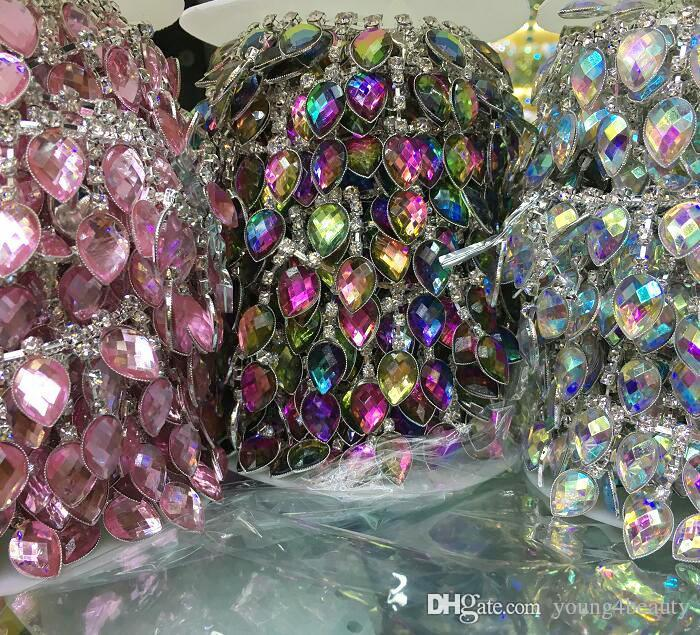 Los 90cm / de la manera AB colorida acryl lágrima-cristalina strass cadena strass franjas para la decoración del vestido del baile de la ropa.