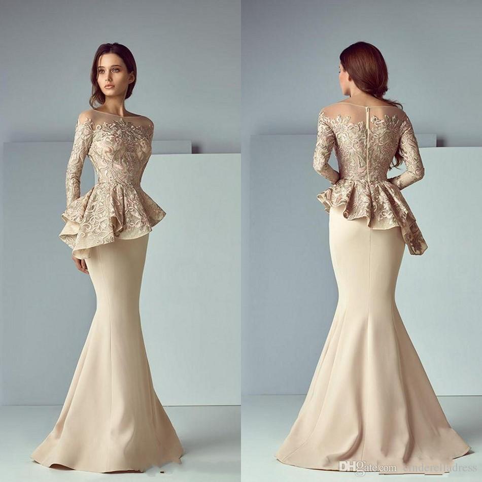 Elegante Champagne Lace Stain Peplum Abiti da sera lunghi 2019 Sheer Neck Manica lunga Dubai Arabo Sirena Prom Dress Saiid Kobeisy BA8170