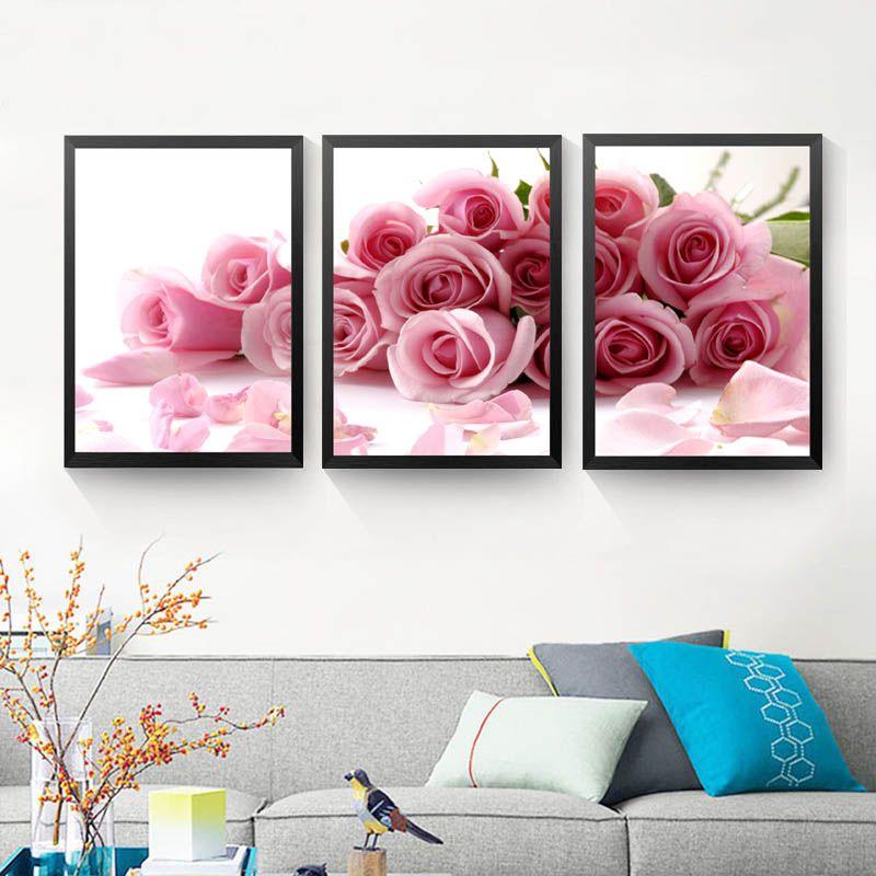 Großhandel 3 Teile / Satz Rosa Rose Wandkunst Leinwand Malerei ...