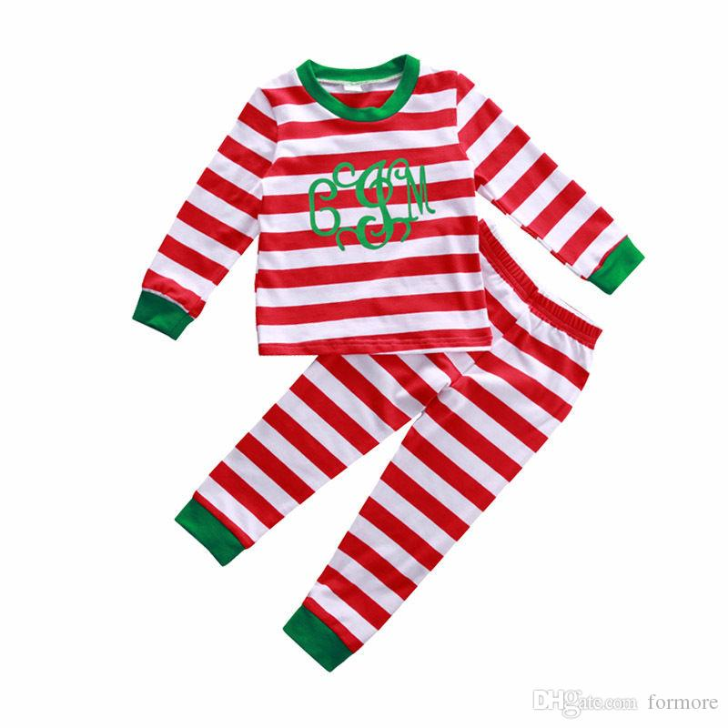Baby Girl Boys Boutique Christmas Clothes Set Red Clothing Suit Toddler Striped Autumn Children Christmas Pajamas Cotton Long Sleeve Outfit