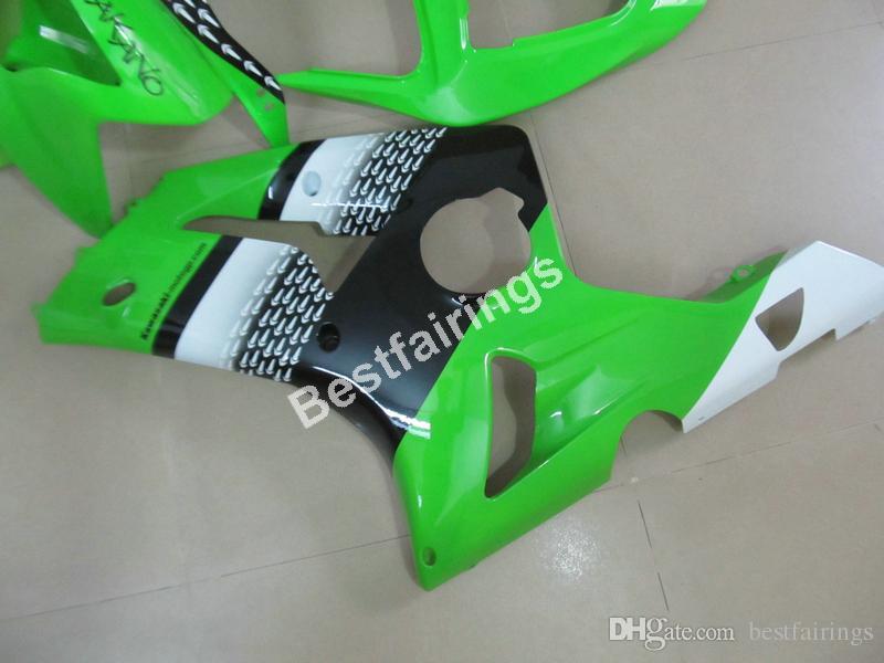 Cheap injection mold plastic fairings for Kawasaki Ninja ZX6R 03 04 green black motorcycle fairing kit ZX6R 2003 2004 UY30