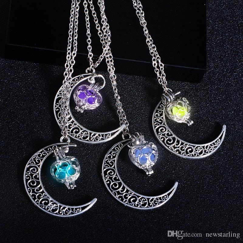 Fashion Luminous Glow In the Dark Necklace Sailor Moon Pendant Necklace For Women Hollow Love Heart Necklace Halloween Christmas Gifts