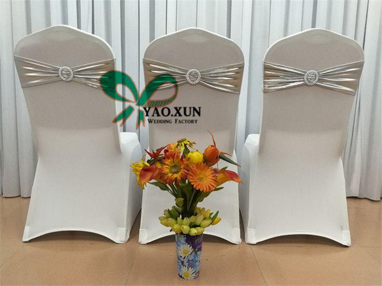 Prix de gros bronzante Coated Chaise Strech Sash \ Lycra Spandex président pour le mariage président Band Cover