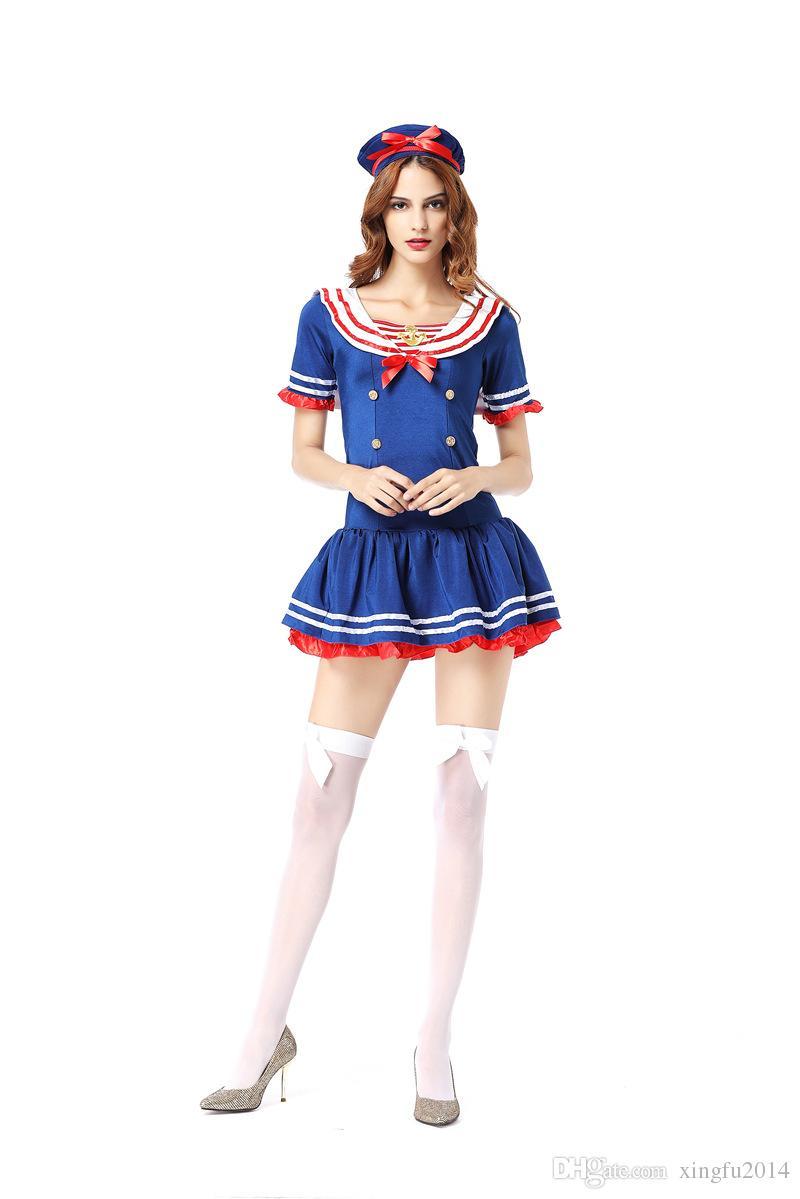 Sexy Frauen Marine Matrosenanzug Nette Mädchen blau Schuluniform Matrose Erwachsene Damen Kostüm Outfit Rollenspiel Cosplay Kostüme