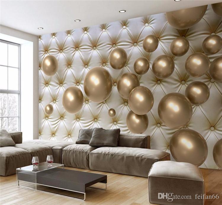Compre papel pintado mural para living room golden soft - Papel pared moderno ...