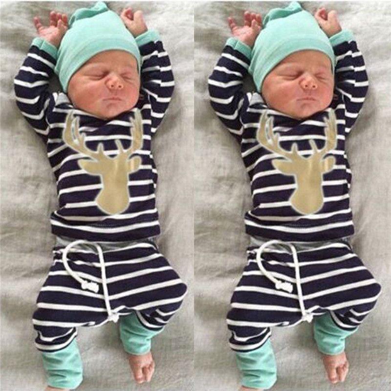 2016 heiße Verkaufskinderart und weise kleidet Baby-Jungen-Mädchenweihnachtssätze neugeborenen Säuglingsspielanzug + gestreifte Hosen + Hut-Körper-Ausstattungs-Kleidungs-Sätze