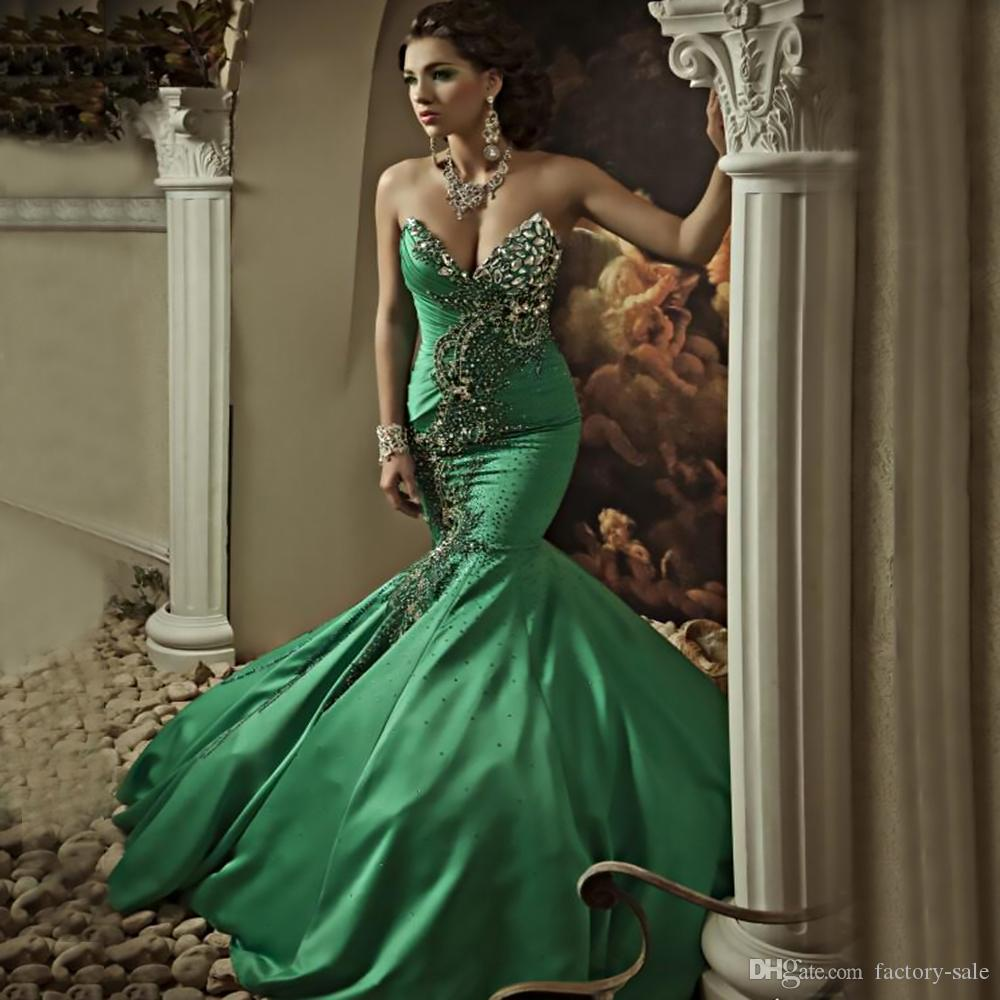 Exquisite Beaded Rhinestones Green Taffeta Pageant Dresses 2017 Sexy Mermaid Sweetheart with Lace-up Back Long Arabic Evening Prom Gowns