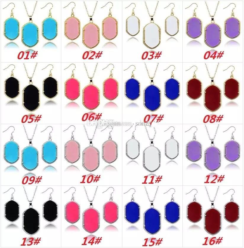 Geometric Drusy Druzy Necklace Earrings Jewelry Set Glittery Acrylic Stone Chandelier Dangles Earrings Necklace For Women