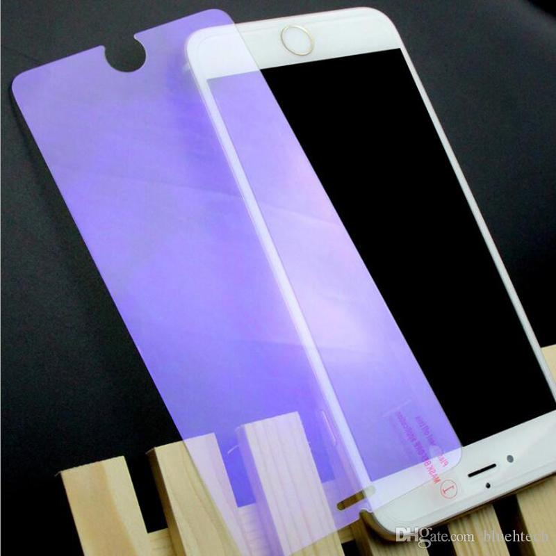 purple version unti blue light Tempered Glass Film for iPhone 5 5s 6 6s 6 7 plus 9H Hard 2.5D Screen Protector with Clean Tools dhl free
