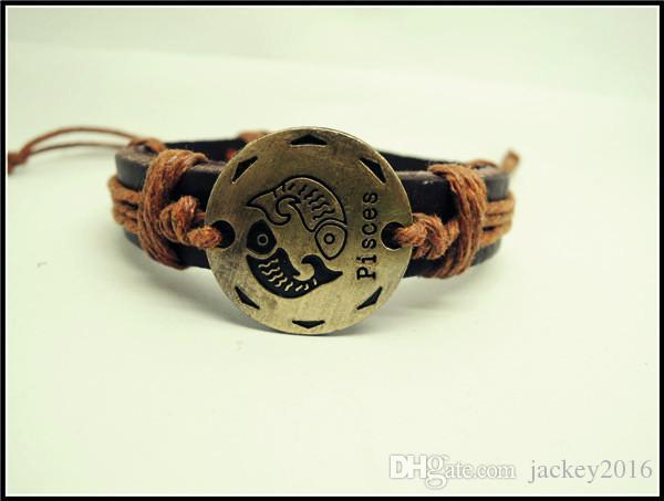 I segni del 12 zodiaco braccialetto di fascino in vera pelle simbolo costellazione bracciali segni zodiacali gioielli uomo donna 12 pz t2002