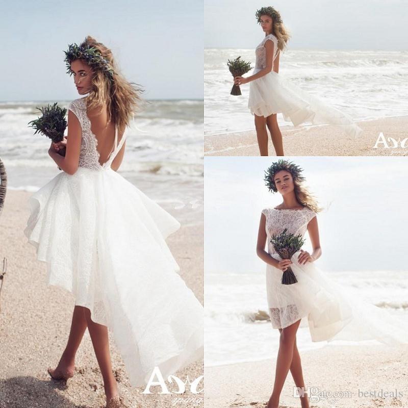 Discount Simple Hi Lo Summer Beach Lace Short Wedding
