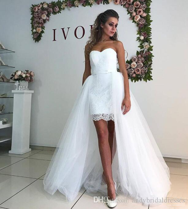 Simple Designer Lace Wedding Dresses With Detachable Skirt Sheath Sweetheart Short Bridal Gowns With Long Skirt