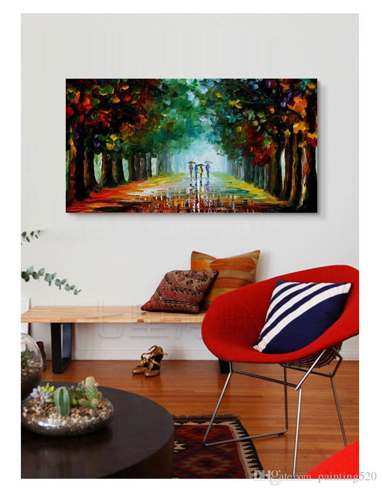 100% Hand painted modern minimalist home decoration style murals high quality color thick oil canvas knife painting JL040