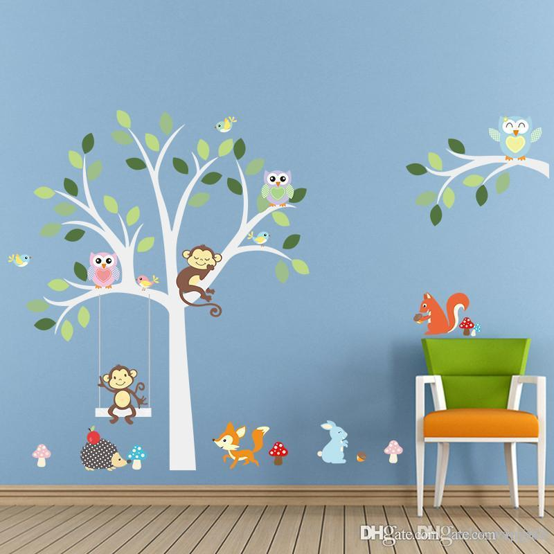 2017 Wise Fox Squirrel Monkey Owls On White Tree Wall Stickers For Kids  Room Love Birds Wall Decal Vinyl Sticker Nursery Room Decor From Lj1988, ...