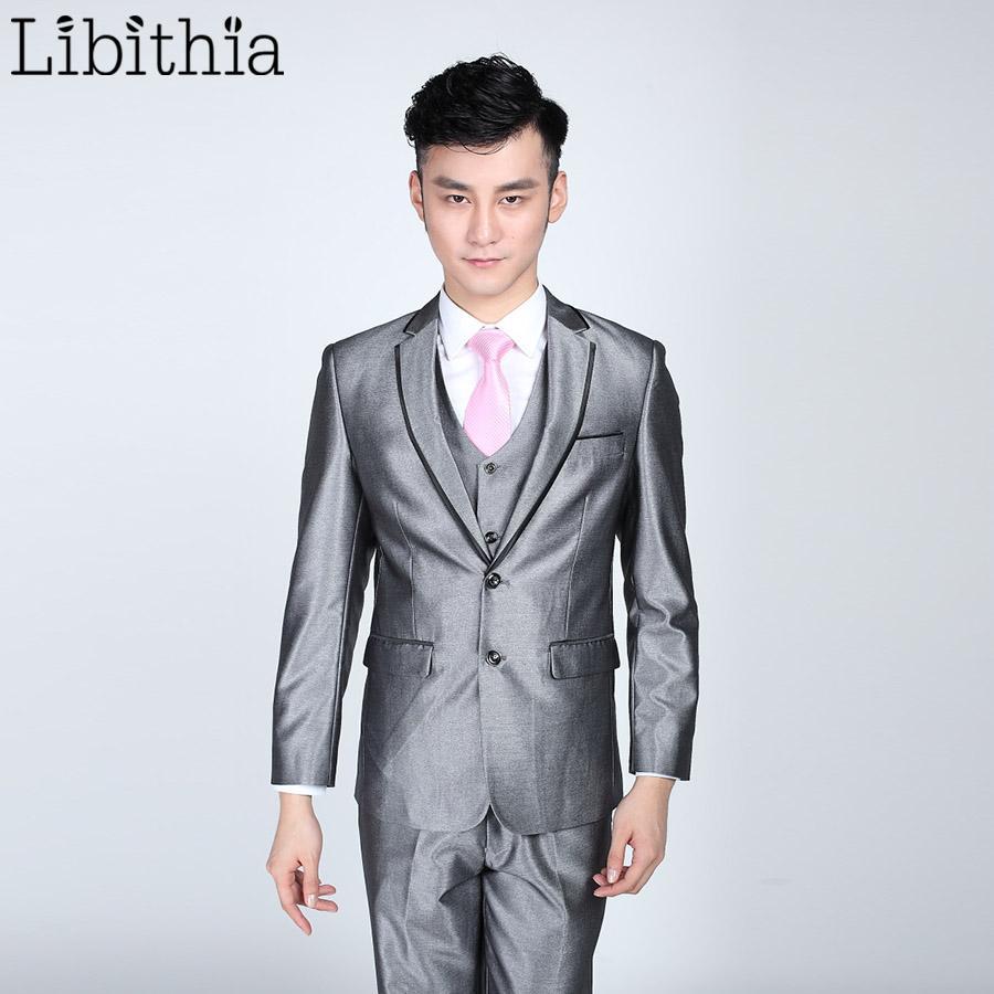 7b586d9c2310fe Wholesale- (Jacket+pant+tie) Mens Bright Grey Black Suits Men Costume Homme  Slim Fit Clothing Blazer For Wedding Dresses Masculino S319