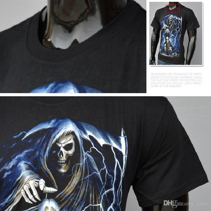 Dia das bruxas Moda streetwear Ride Death Skeleton dos homens t-shirt 3d preto Crânio curto roupas de manga t shirt o pescoço Tops tshirt dos homens BMTX28 F