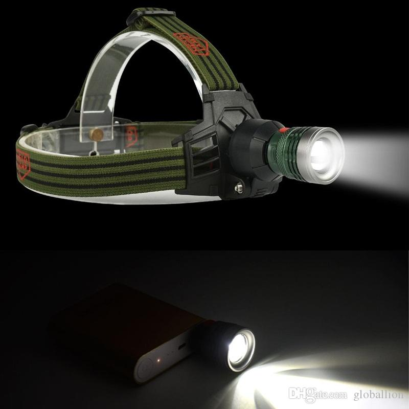AloneFire HP28 Zoomable power bank headlamp led Headlight Camping Head Lamp adjustable focus usb head light