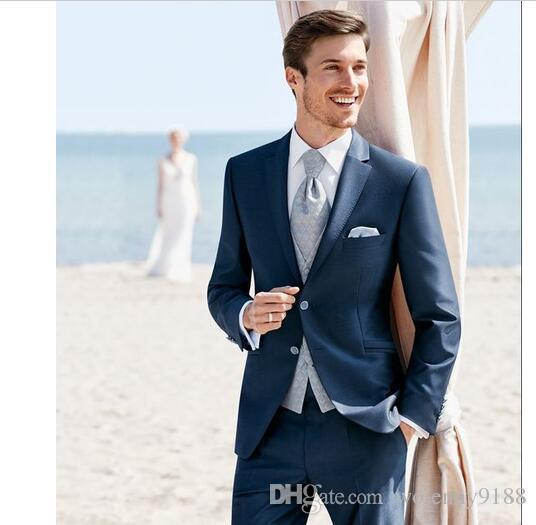 2017 Latest Coat Pant Designs Navy Blue Formal Men Suit Slim Fit