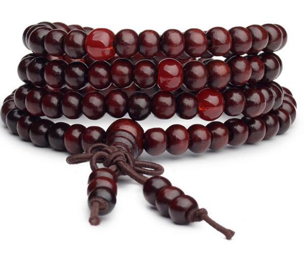 Man Beaded Bracelet 6mm Natural Red Sandalwood DHL Prayer Japa Rosary Mala Tibetan Buddhist Meditation Wood Rosary Beaded Bracelet