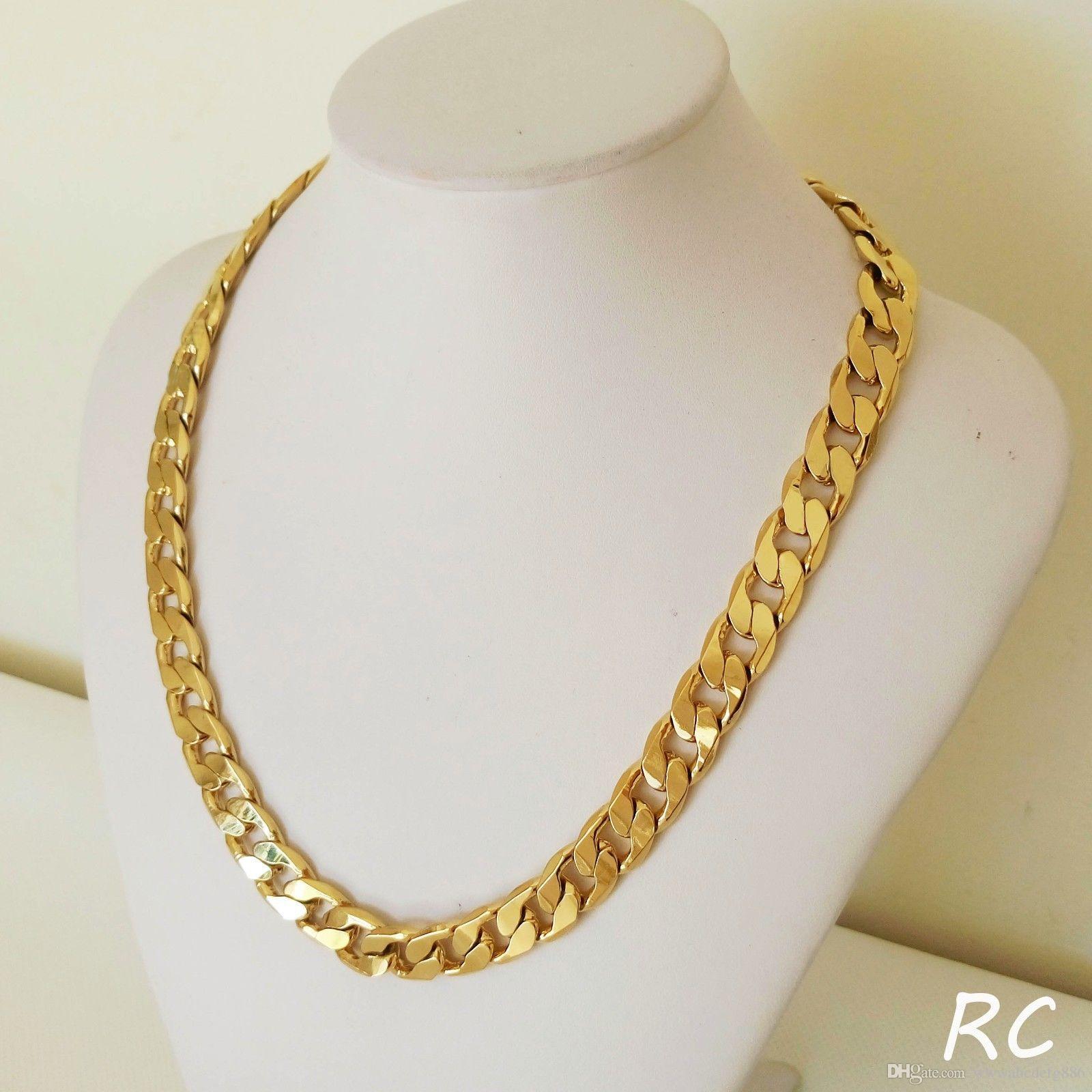 Lourd! Livraison gratuite Classique hommes 18k réel jaune chaîne en or massif collier 23.6 pouces 10mm