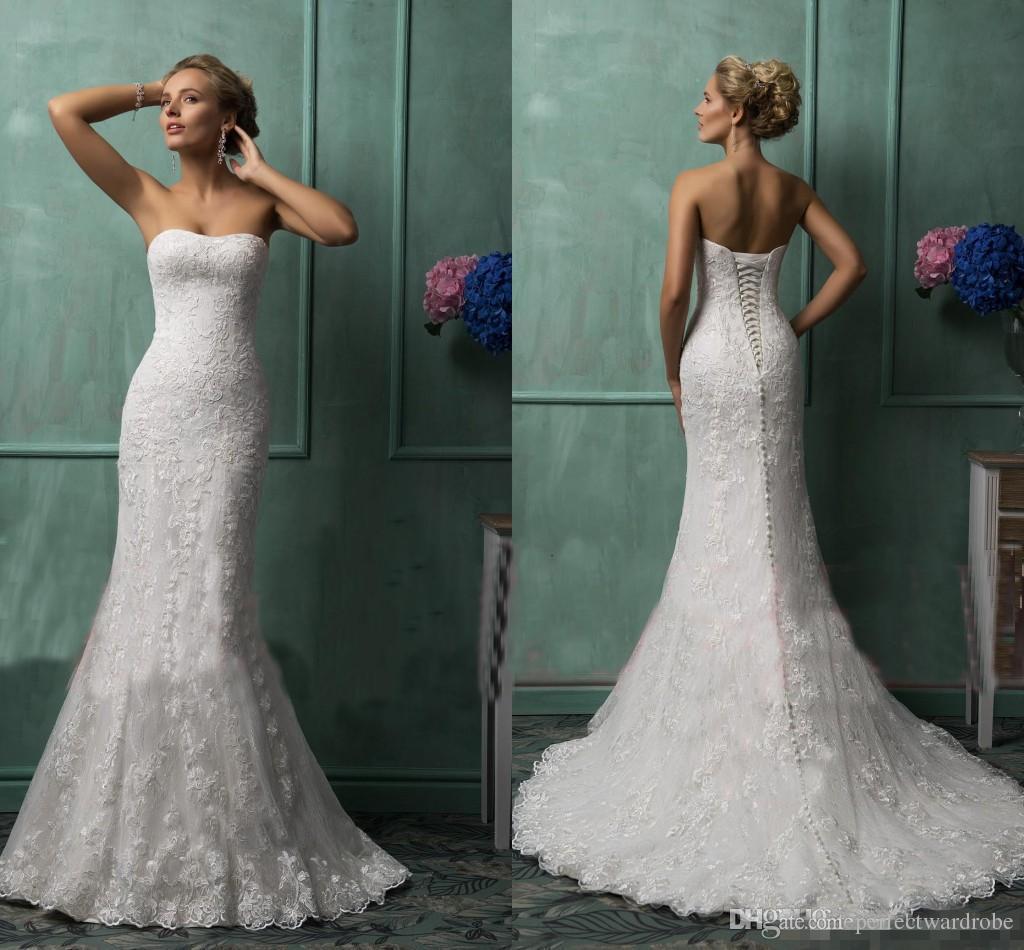 Ivory lace wedding dress strapless mermaid