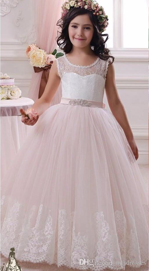 2017 blanco vestido de bola rosada del cordón de la flor vestidos de la muchacha para las muchachas de las bodas vestidos del desfile de las muchachas primeros vestidos de la comunión Vestidos Comunion Ninas