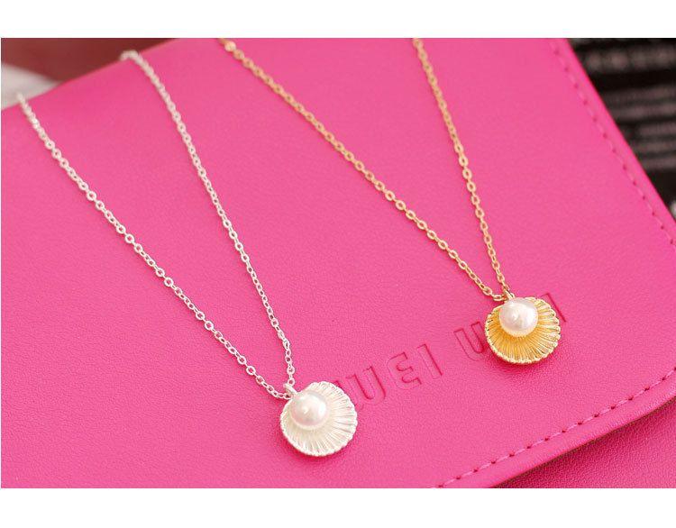 Moda basit inci kabuk kolye kısa kolye kadın klavikula kolye altın gümüş kaplama toptan ücretsiz kargo sıcak satış