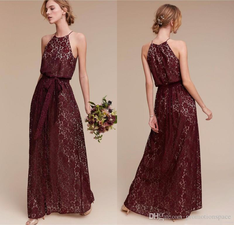 Halter Neck Long Burgundy Bridesmaid Dresses Lace Maid Of Honor ...