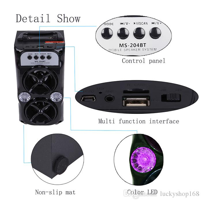 LED Wireless Bluetooth Portable Speaker with USB TF AUX FM Radio MS-204BT Outdoor Super Bass MUSCI player MP3 HIGH power subwoofer with BOX