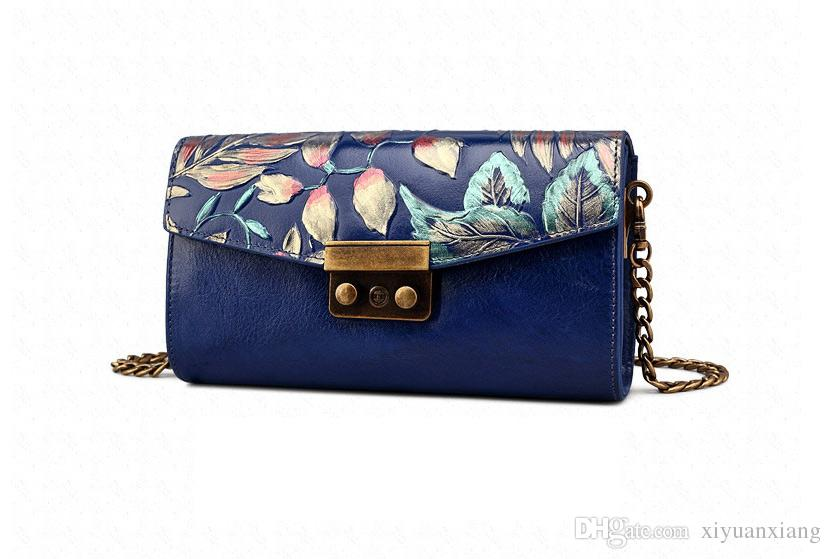 !2017 Hot Sell Newest Classic Fashion Style chinese style Lady Genuine Leather top handle bag hand-painting gift bag #3006-2